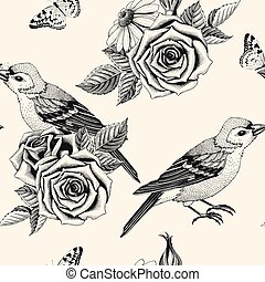 Vector seamless pattern with hand drawn roses