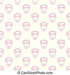 Vector seamless pattern with hand drawn sheep head.
