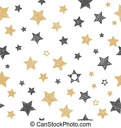 Vector seamless pattern with hand drawn stars
