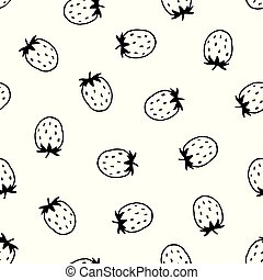 Vector seamless pattern with hand drawn strawberries.