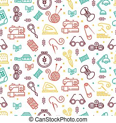 Vector seamless pattern with hand made icons. Symbols of...