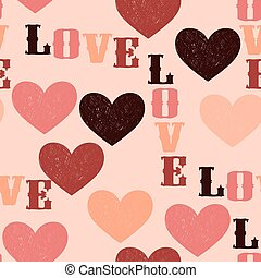 "Vector seamless Pattern with Hearts and ""Love"""