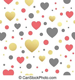 Vector seamless pattern with hearts. Vector illustration