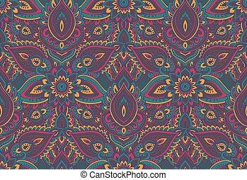 Henna Mehndi Vector : Seamless pattern with mehendi elements. paisley indian pink