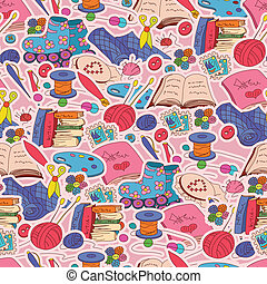 Vector seamless pattern with hobby elements