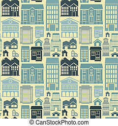 Vector seamless pattern with houses and buildings - Vector...