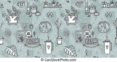 Vector seamless pattern with Hygge concept.