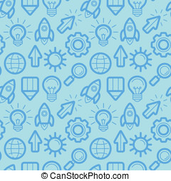 Vector seamless pattern with icons and signs