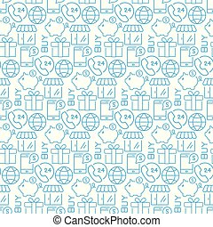 Vector seamless pattern with icons of e- commerce items.