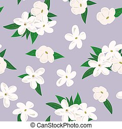 Vector seamless pattern with jasmine flowers. on purple...