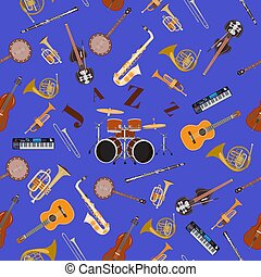 Vector seamless pattern with jazz music