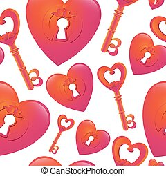 Vector seamless pattern with  key and heart keyhole.