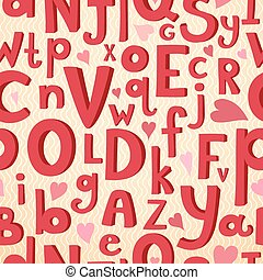 Vector seamless pattern with Latin letters of different sizes in a cartoon style