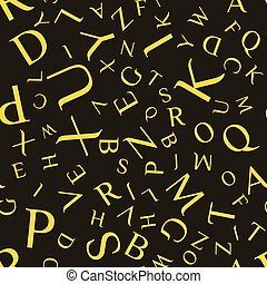 Vector seamless pattern with letters of the alphabet in random order