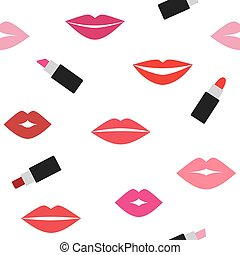 Vector seamless pattern with lips prints