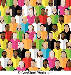 vector seamless pattern with men crowd. flat  illustration of me