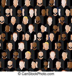 vector seamless pattern with men group or community wearing spor