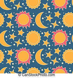Vector seamless pattern with moon, sun and stars