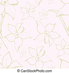 Vector seamless pattern with narcissus daffodil