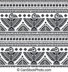 Vector seamless pattern with native American Indian symbols