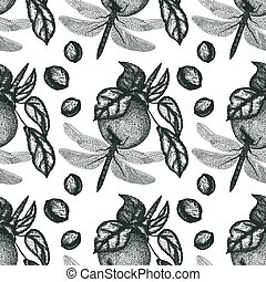 Vector seamless pattern with nature elements
