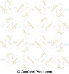Vector seamless pattern with nature elements on a white background