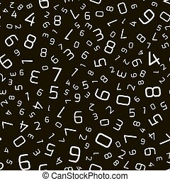 Vector seamless pattern with numbers in random order