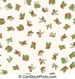 Vector seamless pattern with nuts in hand drawn style.