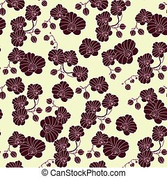Vector seamless pattern with orchids.