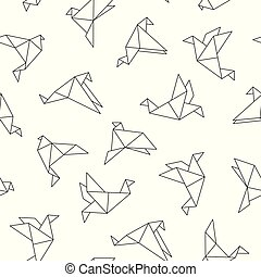 Vector seamless pattern with origami birds. Abstract creative background