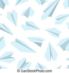 vector seamless pattern with Origami plane collection