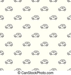 Vector seamless pattern with outline cartoon cars.