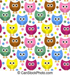 Vector seamless pattern with owls.