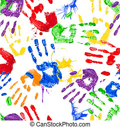 Vector seamless pattern with paint handprints