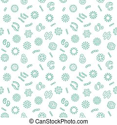 Vector seamless pattern with pathogen, virus, bacteria icons