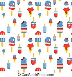 Vector seamless pattern with patriotic ice cream. National colors of the United States. American flag, stars and stripes. Use for celebration of independence day, party decoration, surface texture.