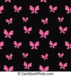Vector seamless pattern with pink butterfly on black...