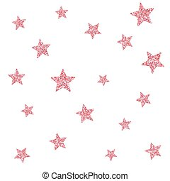 Vector seamless pattern with pink glitter textured stars