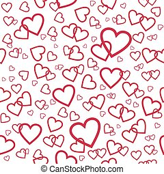 Vector seamless pattern with pink hearts