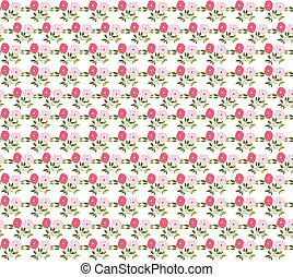 Vector seamless pattern with pink flowers and green leaves on white background for scrapbooking and invitations