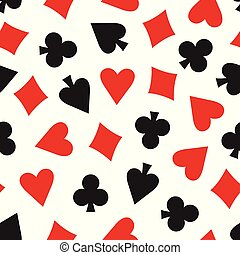 Vector seamless pattern with playing card symbols.