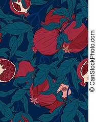 Vector seamless pattern with pomegranate branch with fruits and flowers on blue.