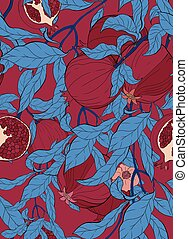Vector seamless pattern with pomegranate branch with fruits and flowers on burgundi.