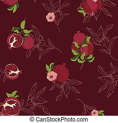 Vector seamless pattern with pomegranate fruits and seeds on burgundi background.