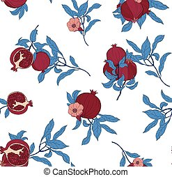 Vector seamless pattern with pomegranate fruits and seeds on white background.