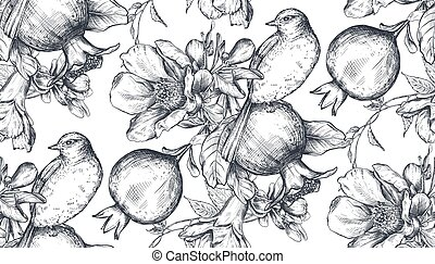 Vector seamless pattern with pomegranate fruits, flowers, branches and birds.