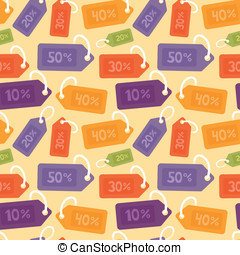 Vector seamless pattern with price tags