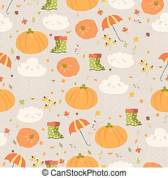 Vector seamless pattern with pumpkins