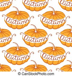 vector seamless pattern with pumpkins and lettering autumn
