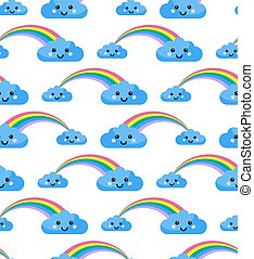 Vector seamless pattern with rainbow and clouds.